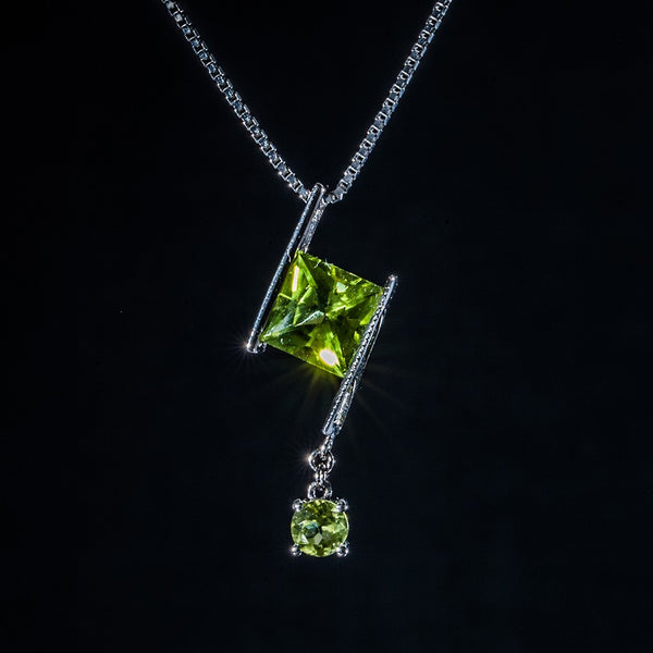 Square and Circle - 18K White Gold Peridot Pendant (Necklace Not Included)