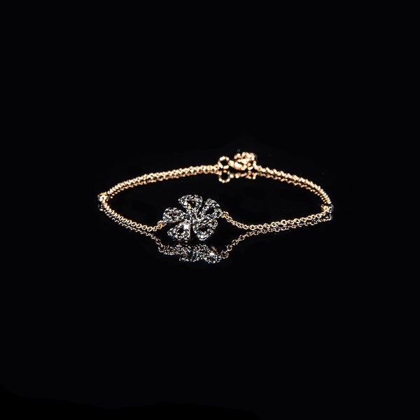 Shining Flower - 18K Gold Black Diamond Bracelet