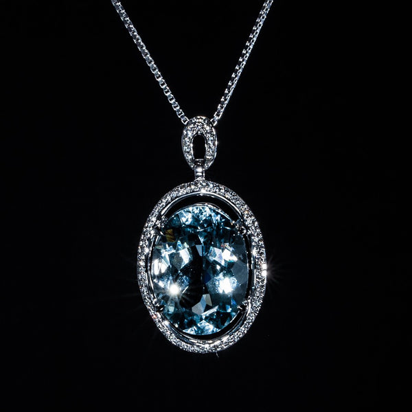 The Ocean - 18K Aquamarine Pendant - Necklace Not included