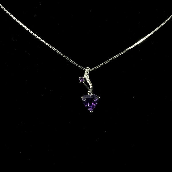 18K White Gold Amethyst With Diamond Pendant