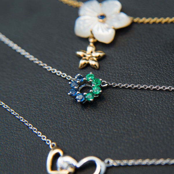 Sapphire and Emerald Donut Necklace - 18K White Gold Necklace