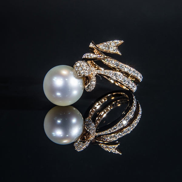 Pearl on a Ribbon - 18K Rose Gold Pearl and Diamond Ring