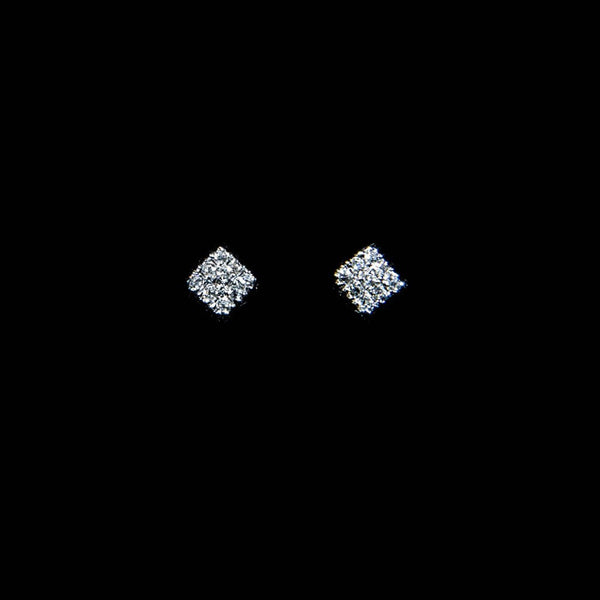 Diamond Square - 18K White Gold Diamond Earrings