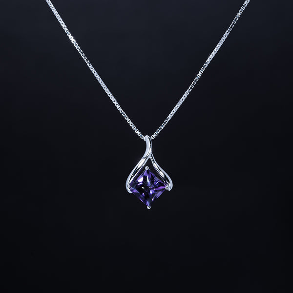 18K Amethyst Diamond Pendant with Necklace