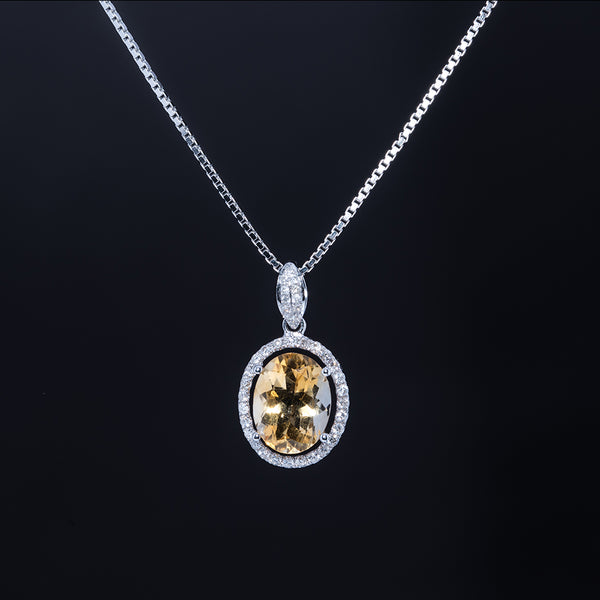 The Sun - 18K Citrine Pendant with Diamond Halo
