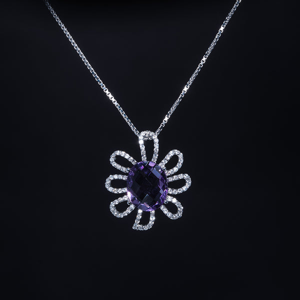 The Flower - 18K Amethyst Diamond Pendant with Necklace