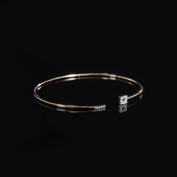 Trendy Wire Bangle for Daily - 18K Rose Gold with Diamond Wire Bangle