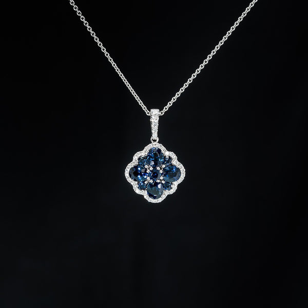Blue Sapphire Flower Drop Pendant (Necklace not included)