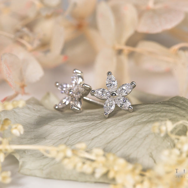 Marquise Five Petal Flowers - 18k Diamond Earrings