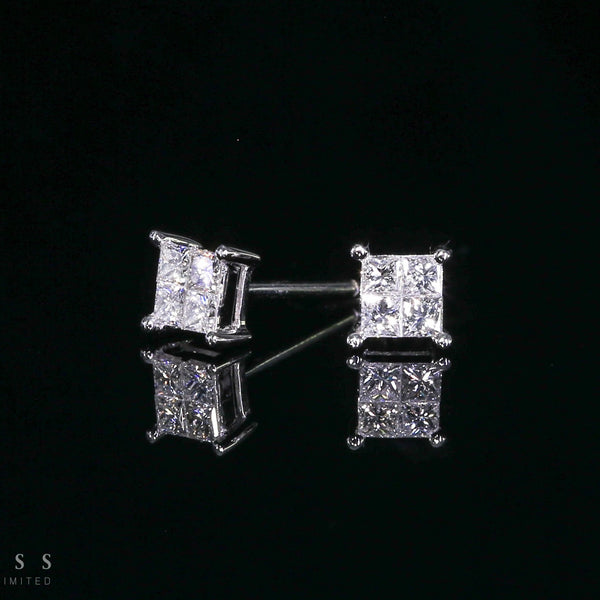 18K Square Diamond Earrings