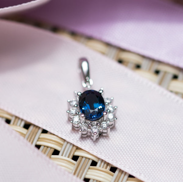 Oval Sapphire Pendant with Halo of Diamond - Necklace not included