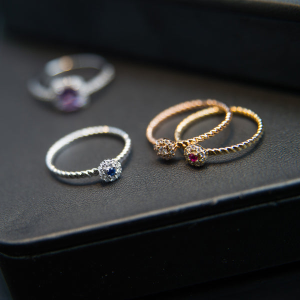 Stackable Rings with Different Gemstones - 18K Three Matching Rings