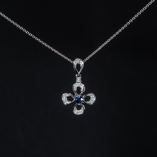 Simple Cross - 18K White Gold Sapphire and Diamond Pendant (Necklace not included)