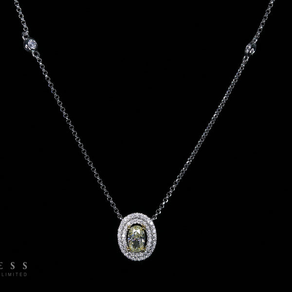 Classic Halo Necklace - 18k Yellow Diamond Necklace