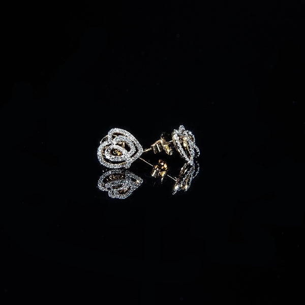 Heart in Heart - 18K Gold Diamond Stud Earrings