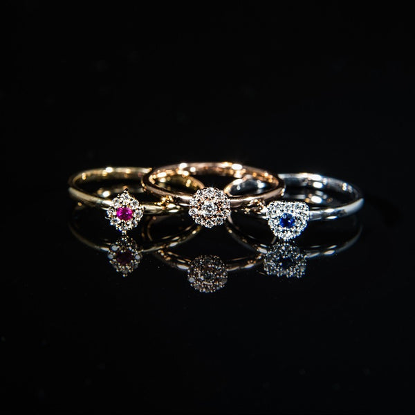 18K Three stackable rings with different gemstones