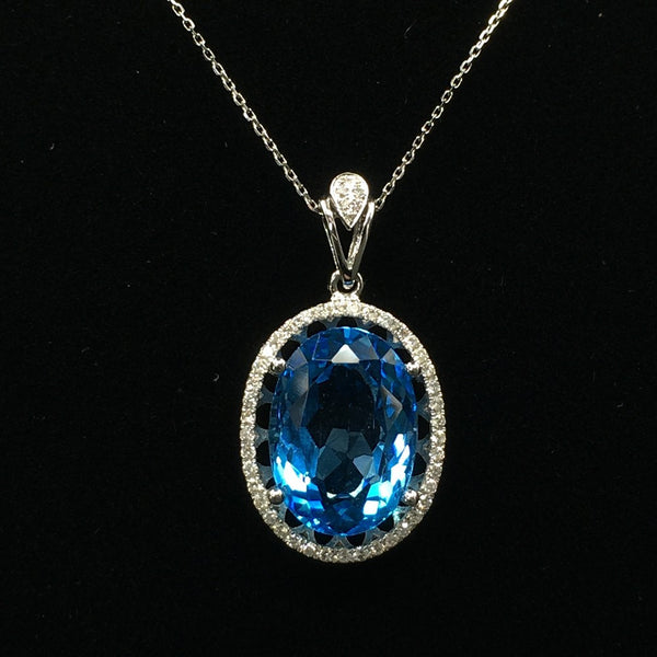 18K White Gold Blue Topaz Diamond Pendant
