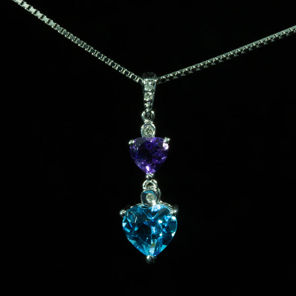 18K White Gold Gemstones with Diamond Pendant