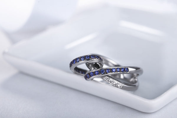 Sapphire Wave Ring  [18K]