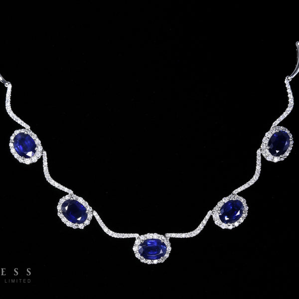 Deep Blue - 18k Sapphire and Diamond Necklace