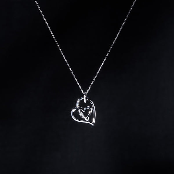 Heart in Heart Diamond Necklace