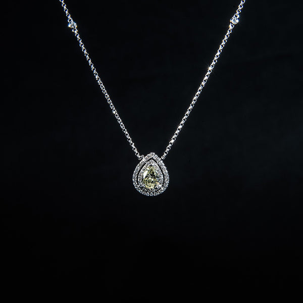 Tasting The Stars - 18k White Gold Fancy Yellow Pear Shape Diamond Necklace