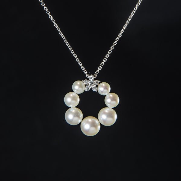 Little Pearls in Circle Setting - 14K White Gold Pearl Pendant (Necklace not included)