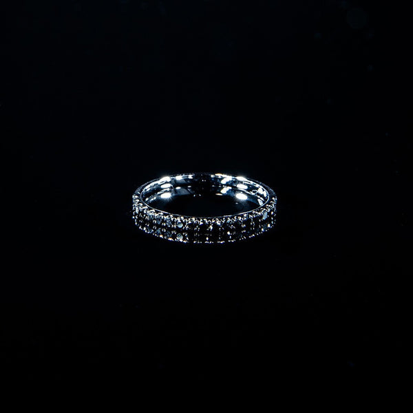 Black Band - 18K White Gold Black Diamond Line Ring