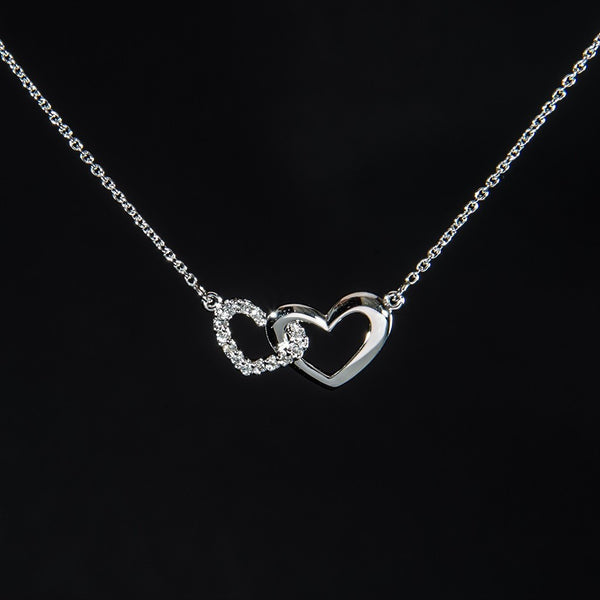 14K White Gold Double Heart Design Necklace