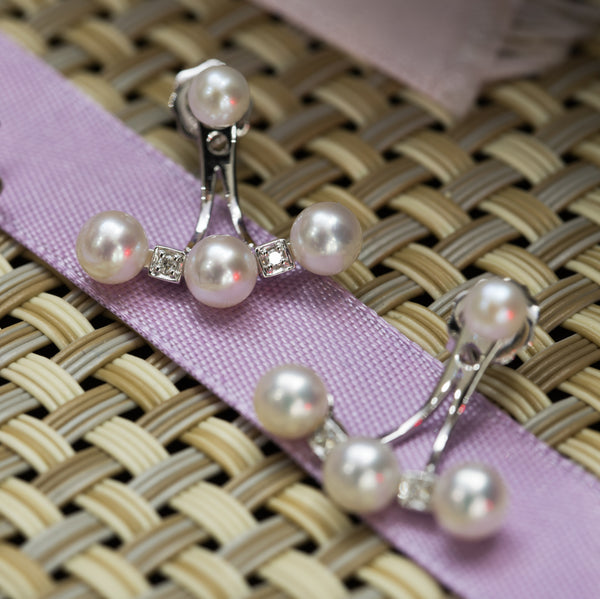 Two ways Diamond and Pearl Jacket Earrings