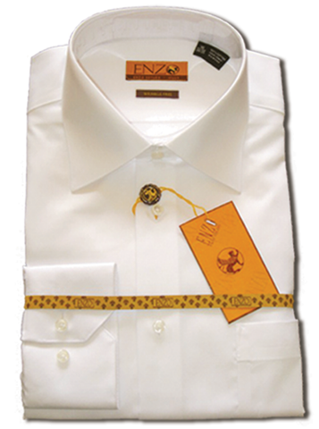 Solid White Cotton Barrel Cuff Dress Shirt