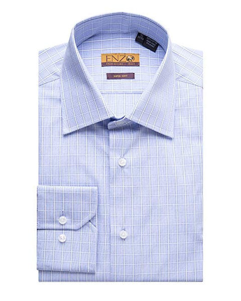Blue Multi Checked Cotton Barrel Cuff Dress Shirt
