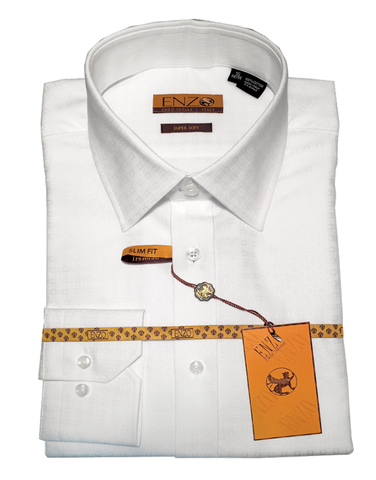 White Check Cotton Barrel Cuff Slim Fit Dress Shirt