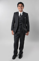 5 Piece Grey Boys 2 Button Suit