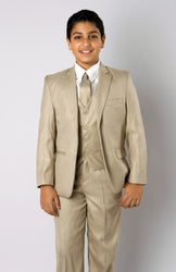 5 Piece Beige Boys 2 Button Suit With Vest, Dress Shirt and Tie