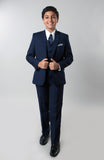 5 Piece Navy Boys 2 Button Suit