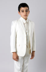 5 Piece Off White Boys 2 Button Suit