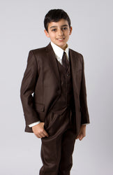 5 Piece Brown Boys 2 Button Suit With Vest, Dress Shirt and Tie