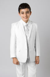 5 Piece White Boys 2 Button Suit With Vest, Dress Shirt and Tie