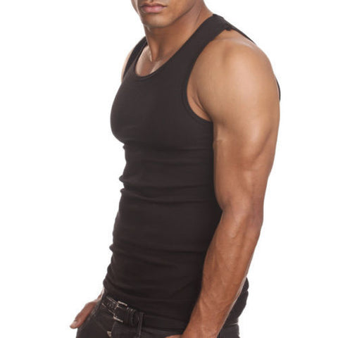 Men's 6 Pack A Shirts Cotton Tank Top Black Undershirt