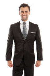 Black Notch Lapel Formal Chalk Stripe Slim Fit Suit