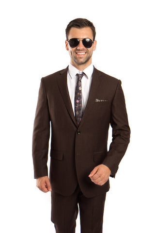 Brown 100% Wool Stripe Suit