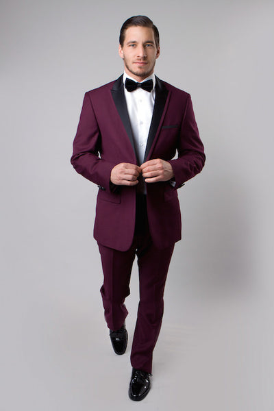 Burgundy Tuxedo with 1-Button Closure and Peak Lapel