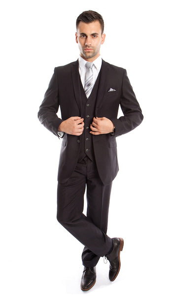 Charcoal 3 Piece Slim Fit Vested Suit