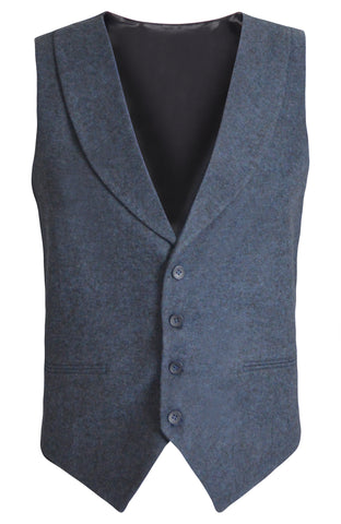 Tweed Navy Slim Fit Shawl Collar Suit Vest