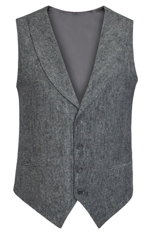 Tweed Grey Slim Fit Shawl Collar Suit Vest