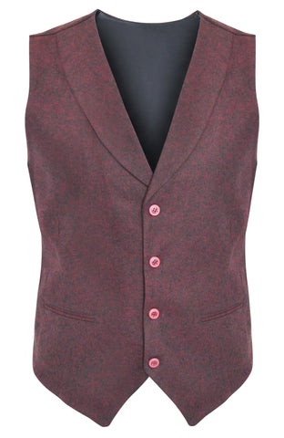 Tweed Burgundy Slim Fit Shawl Collar Suit Vest