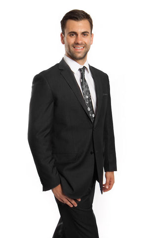 Dark Grey Pinstripe Suit 100% Wool