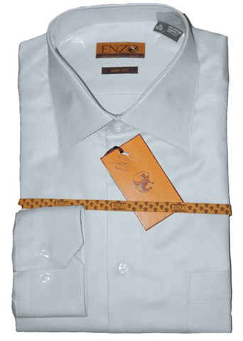 Twill Light Grey Cotton Barrel Cuff Dress Shirt