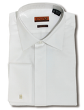 White Pique Cotton French Cuff Laydown Tuxedo Shirt
